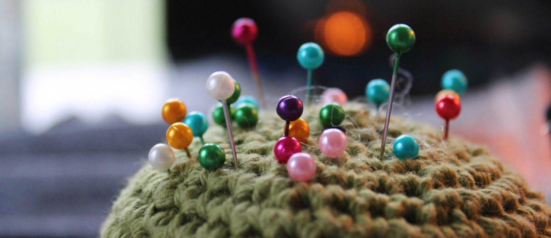 Closeup of pincushion