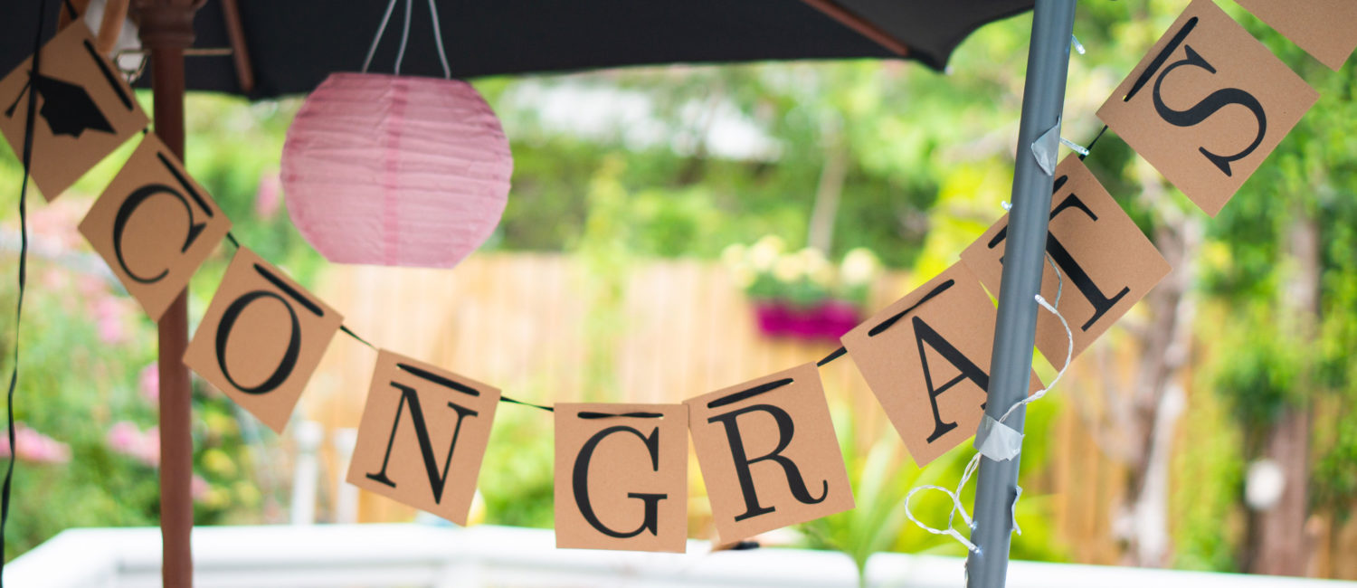 Congratulations banner hanging outside