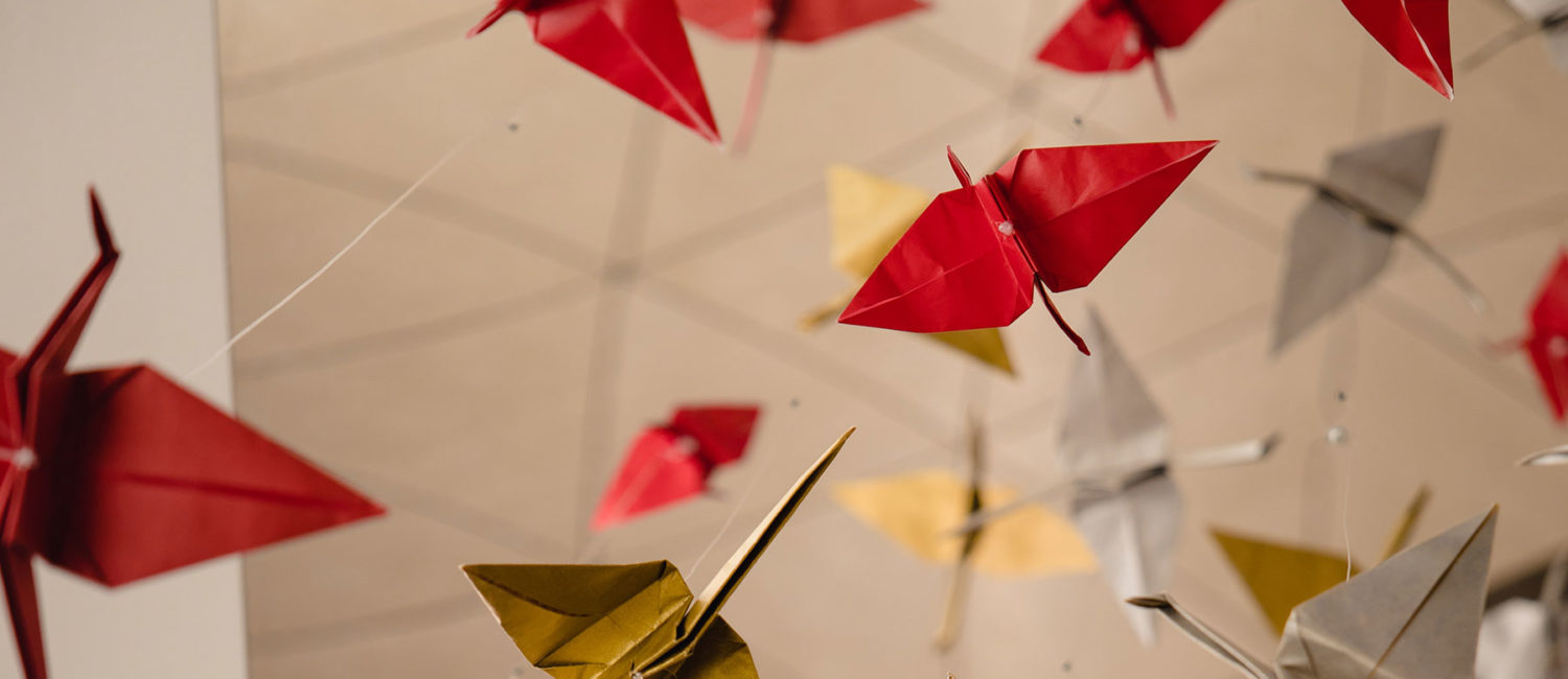 Red and yellow paper cranes