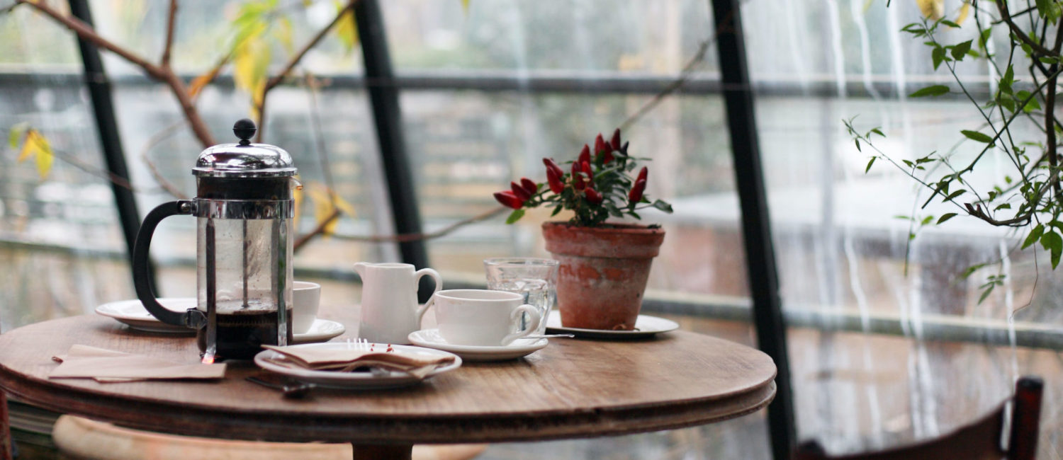Cafe table with coffee cup