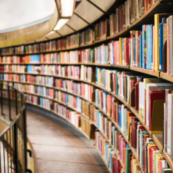 Books on bookshelf in library