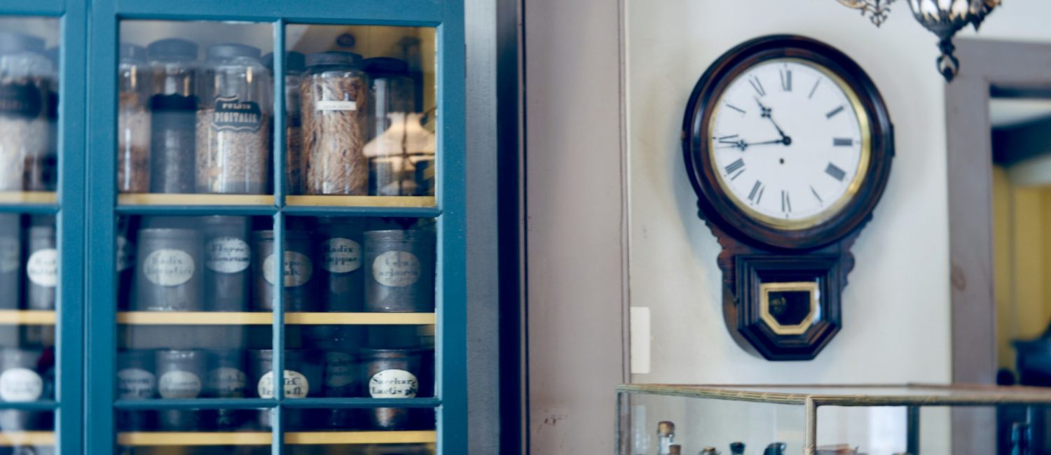 Old pharmacy with clock