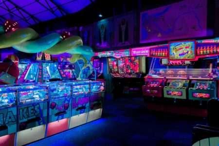 Empty video game arcade.