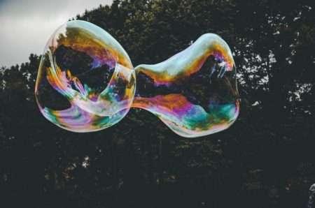 Bubbles against mountains.