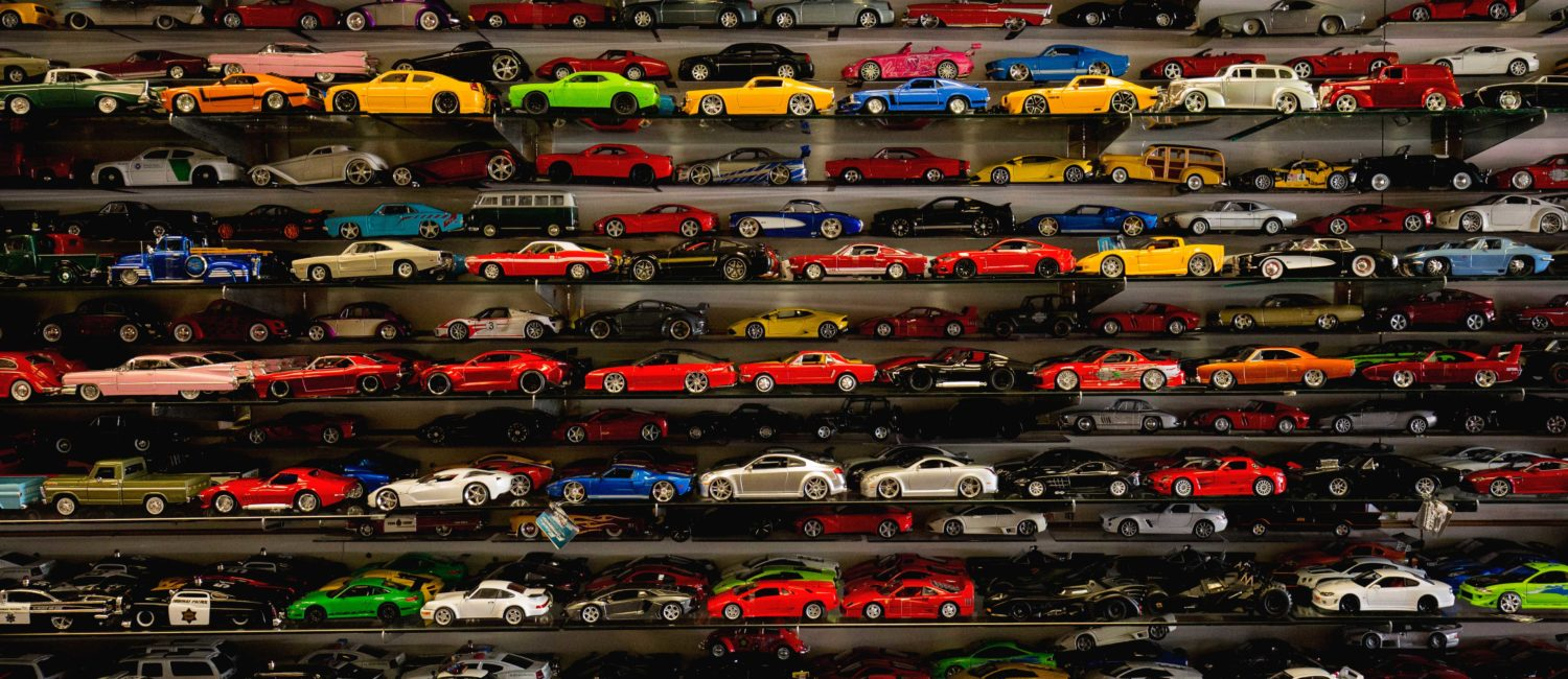 Shelves of toy cars.