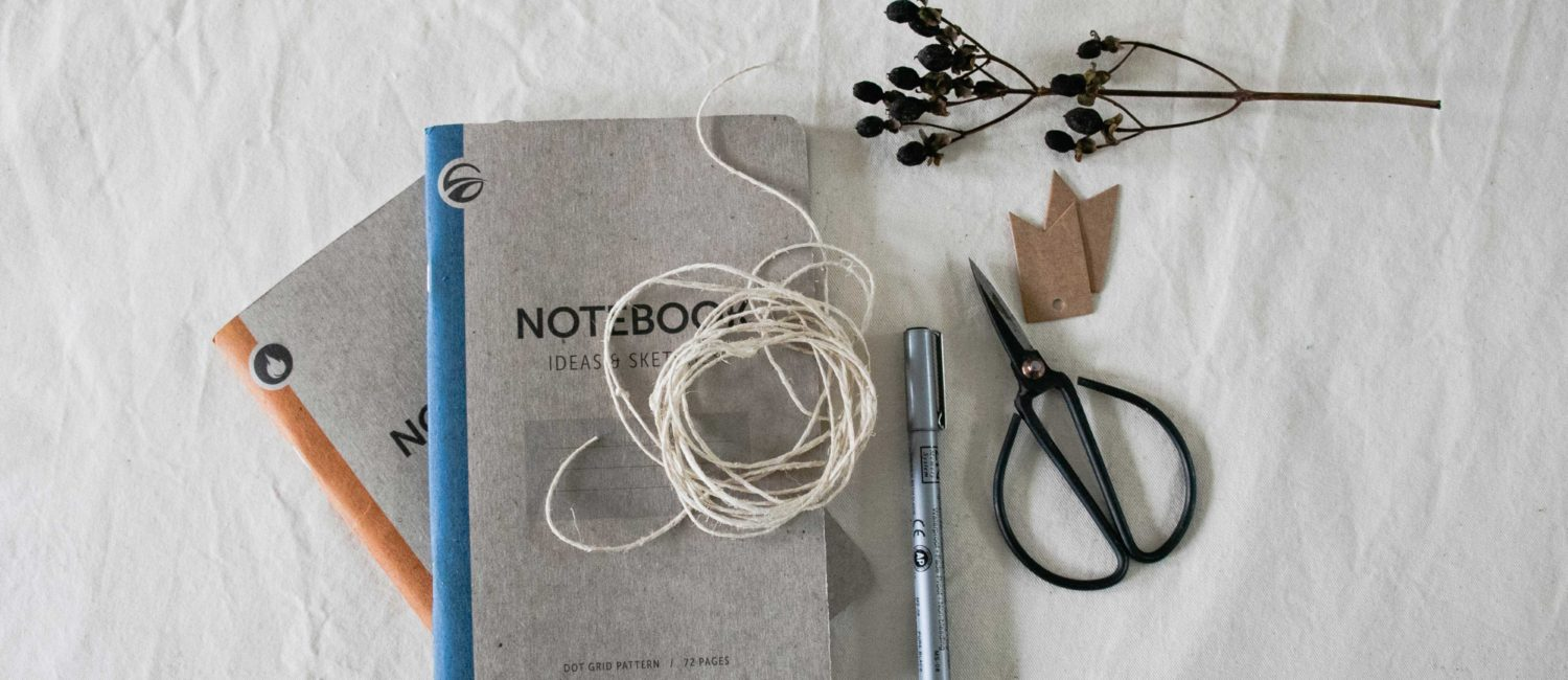 scissors and notebooks