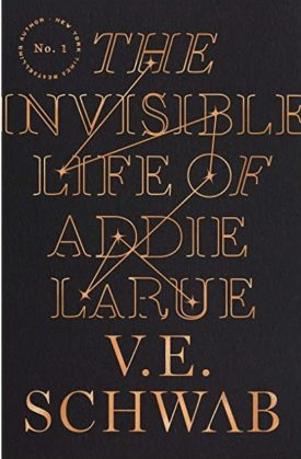 """Book Cover of """"Invisible Life of Addie Larue"""" by V E Schwab gold letters on a black background, thin gold lines trace a constellation-like pattern through the title"""