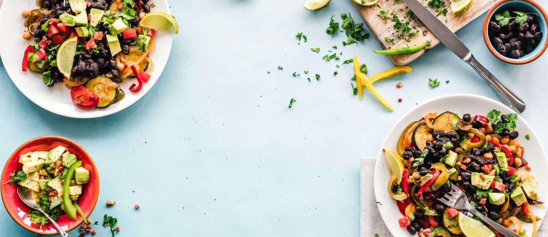 food arranged on table